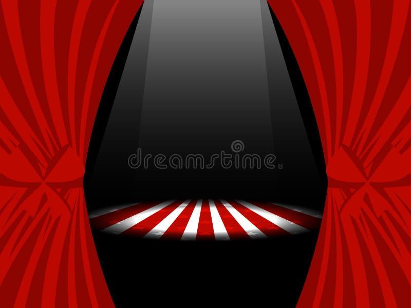 Κόκκινες κουρτίνες με τις κορδέλλες και φω'τα στη σκηνή διάνυσμα ελεύθερη απεικόνιση δικαιώματος