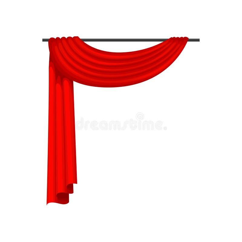 Κόκκινες κουρτίνες στο γείσο μετάλλων Στοιχείο διακοσμήσεων για το στάδιο παραθύρων, Οπερών ή θεάτρων Επίπεδο διάνυσμα για την αφ διανυσματική απεικόνιση