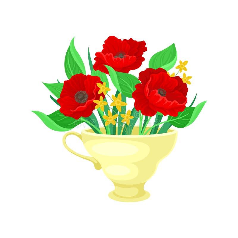 Κόκκινες παπαρούνες σε μια κίτρινη κούπα E απεικόνιση αποθεμάτων