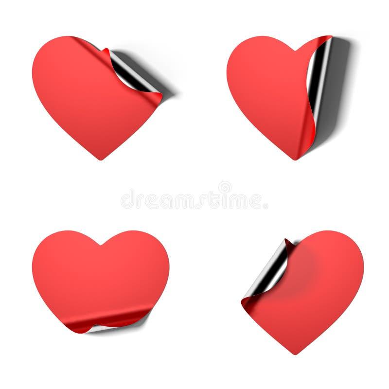 Κόκκινες ρεαλιστικές αυτοκόλλητες ετικέττες υπό μορφή καρδιάς στο άσπρο υπόβαθρο τρισδιάστατη απόδοση ελεύθερη απεικόνιση δικαιώματος