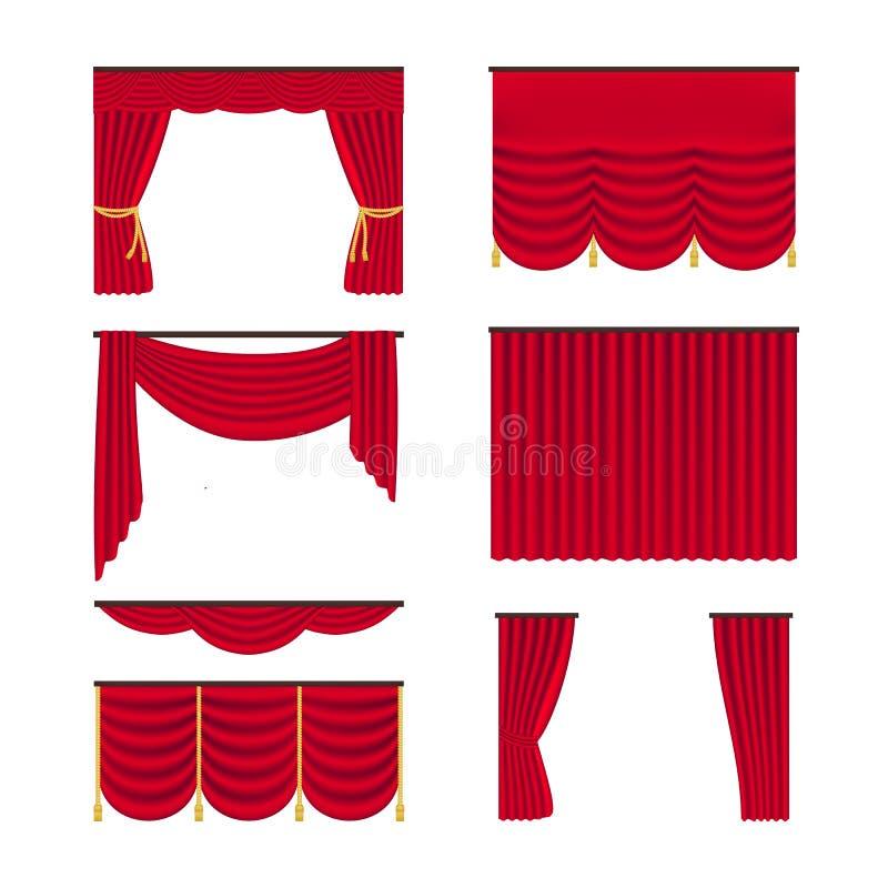 Κόκκινες ρεαλιστικές κουρτίνες καθορισμένες απομονωμένες στο άσπρο υπόβαθρο Εσωτερικό αντικείμενο διακοσμήσεων υφασματεμποριών r διανυσματική απεικόνιση