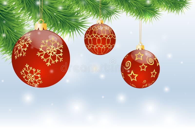 Κόκκινες σφαίρες Χριστουγέννων διανυσματική απεικόνιση