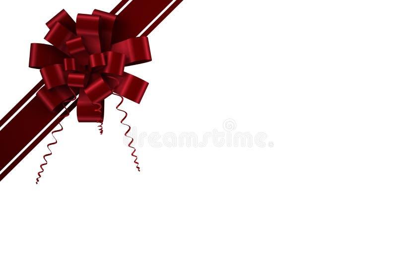 Κόκκινες τόξο και κορδέλλα Χριστουγέννων διανυσματική απεικόνιση