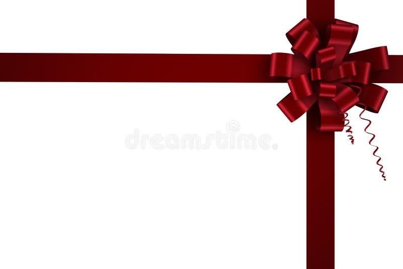 Κόκκινες τόξο και κορδέλλα Χριστουγέννων ελεύθερη απεικόνιση δικαιώματος