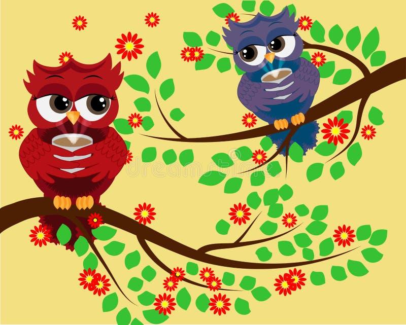 2 κόκκινες χαριτωμένες ερωτύλες κουκουβάγιες στους κλάδους, με ένα φλυτζάνι του βρασίματος στον ατμό του καφέ, του τσαγιού ή της  απεικόνιση αποθεμάτων