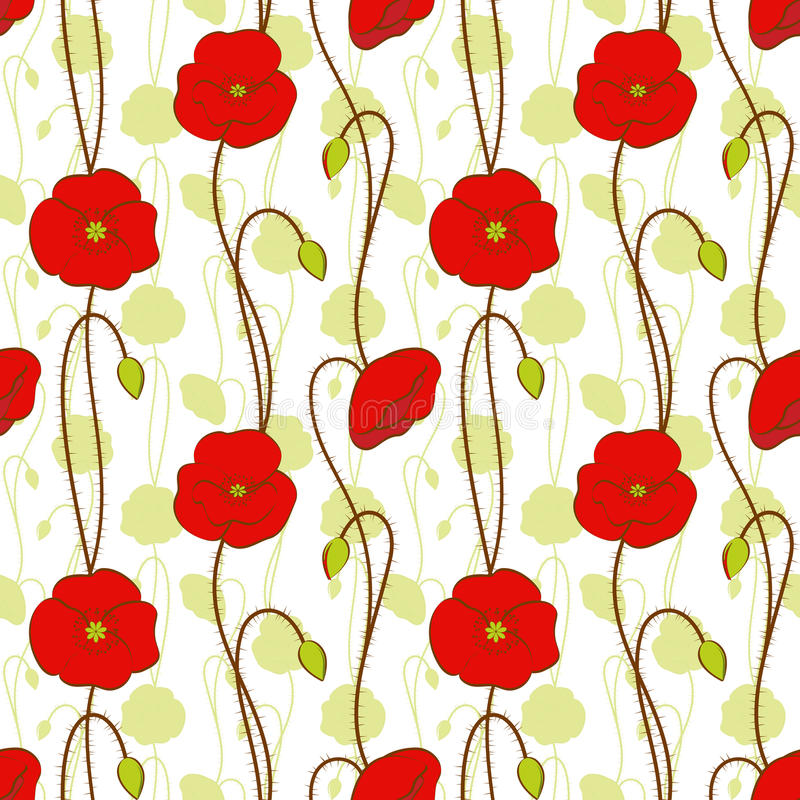 κόκκινη άνευ ραφής άνοιξη παπαρουνών προτύπων λουλουδιών απεικόνιση αποθεμάτων
