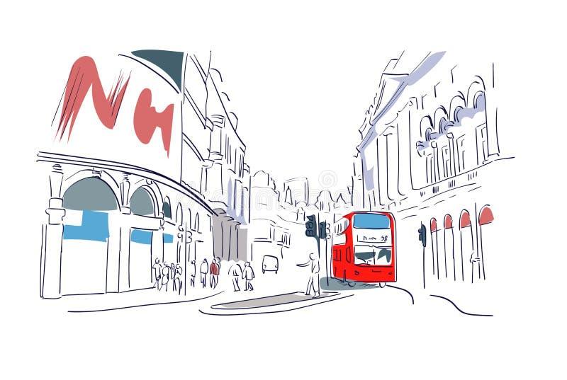 Κόκκινη άποψη οδών απεικόνισης watercolor λεωφορείων του Λονδίνου διανυσματική απεικόνιση