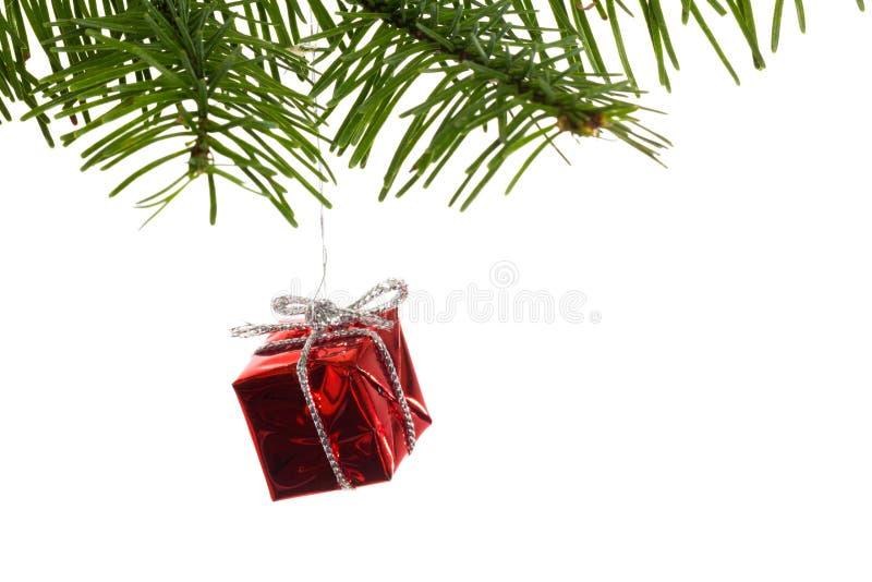 Κόκκινη ένωση διακοσμήσεων Χριστουγέννων από τον κλάδο στοκ εικόνα