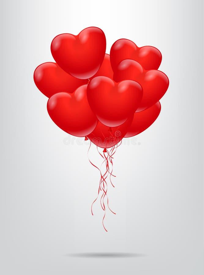 Κόκκινη δέσμη μπαλονιών μορφής καρδιών επίσης corel σύρετε το διάνυσμα απεικόνισης διανυσματική απεικόνιση