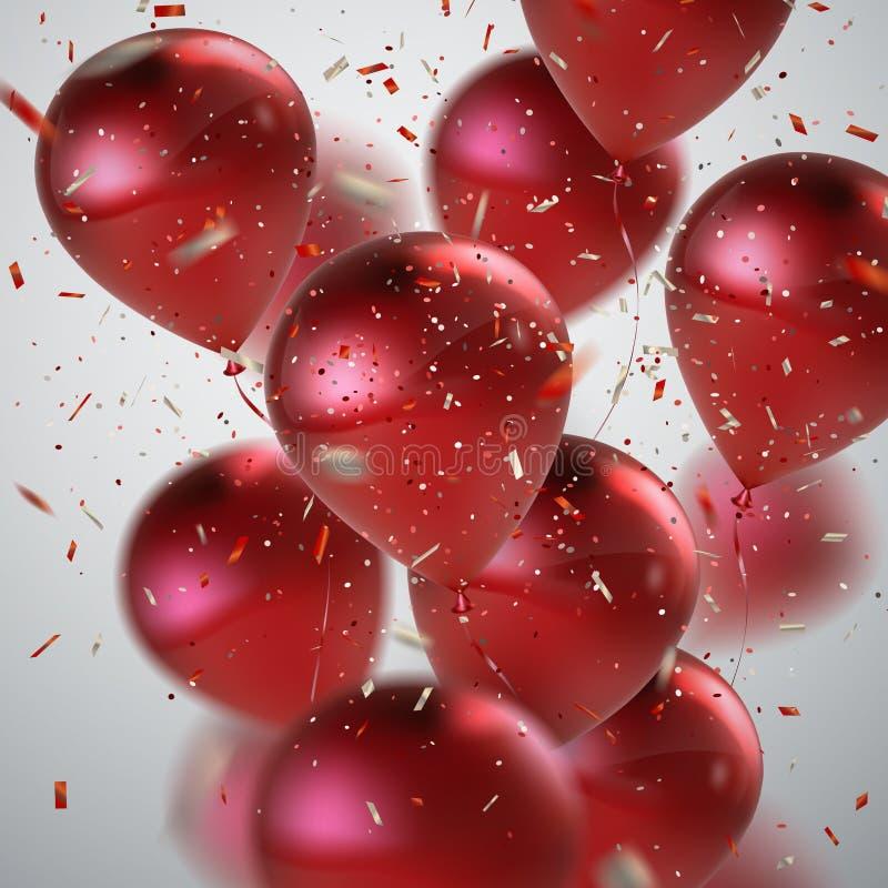 Κόκκινη δέσμη μπαλονιών ελεύθερη απεικόνιση δικαιώματος