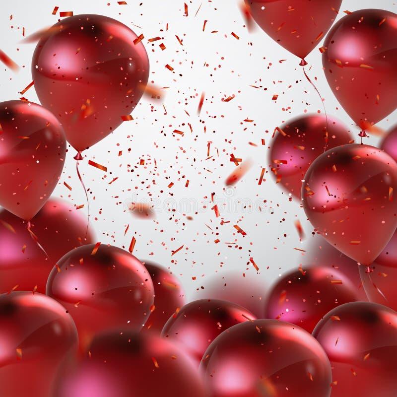 Κόκκινη δέσμη μπαλονιών απεικόνιση αποθεμάτων