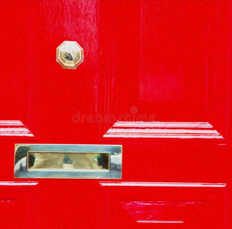 κόκκινη λαβή του Λονδίνου στο παλαιό καφετί καρφί ορείχαλκου πορτών σκουριασμένο και το λ στοκ φωτογραφίες με δικαίωμα ελεύθερης χρήσης