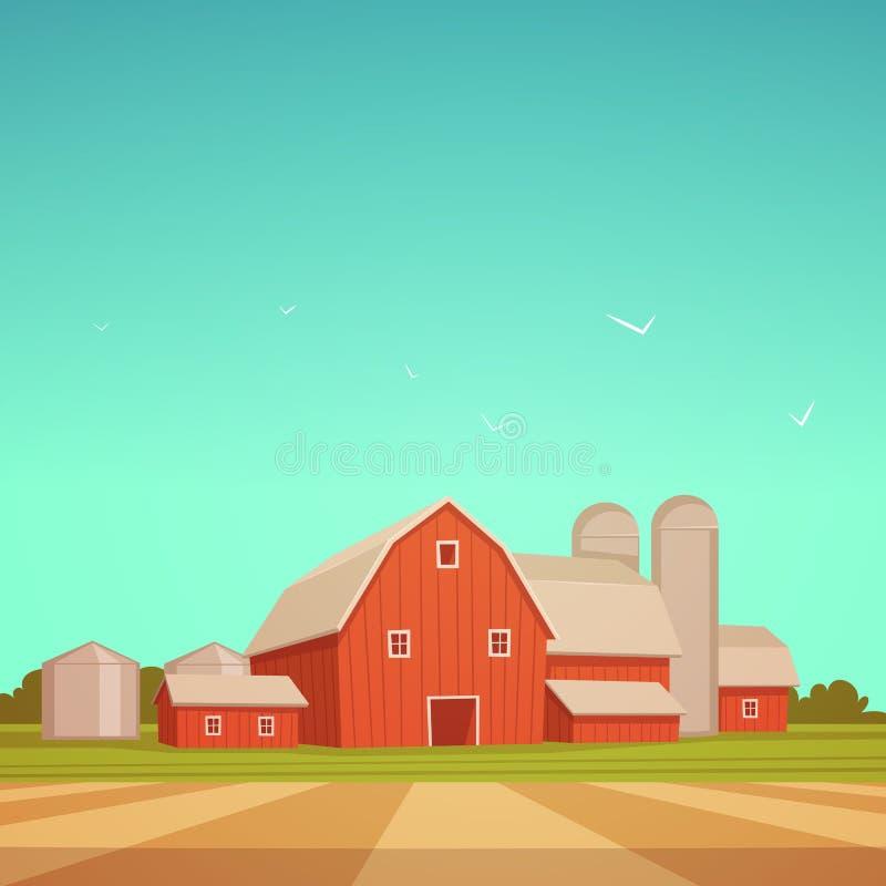 Κόκκινη αγροτική σιταποθήκη διανυσματική απεικόνιση