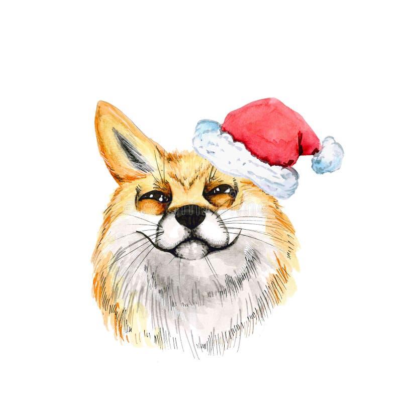 Κόκκινη αλεπού κεφάλι Πορτρέτο watercolor Χριστουγέννων Στο καπέλο Άγιου Βασίλη η ανασκόπηση απομόνωσε το λευκό νέο έτος απεικόνιση αποθεμάτων