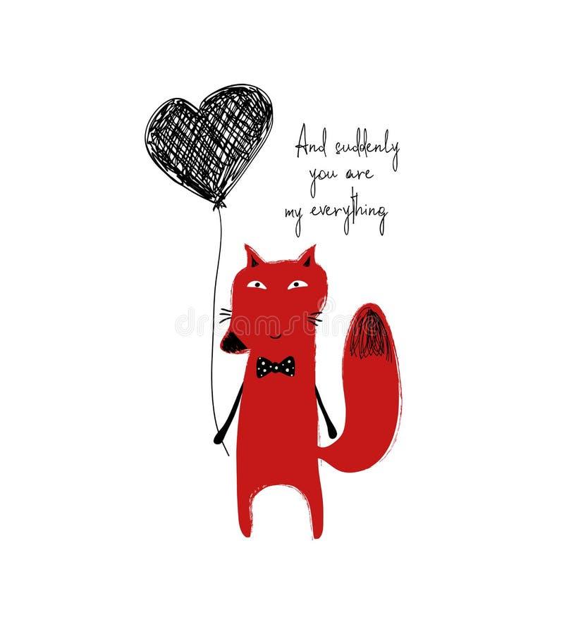 Κόκκινη αλεπού που κρατά ένα μπαλόνι καρδιών διανυσματική απεικόνιση