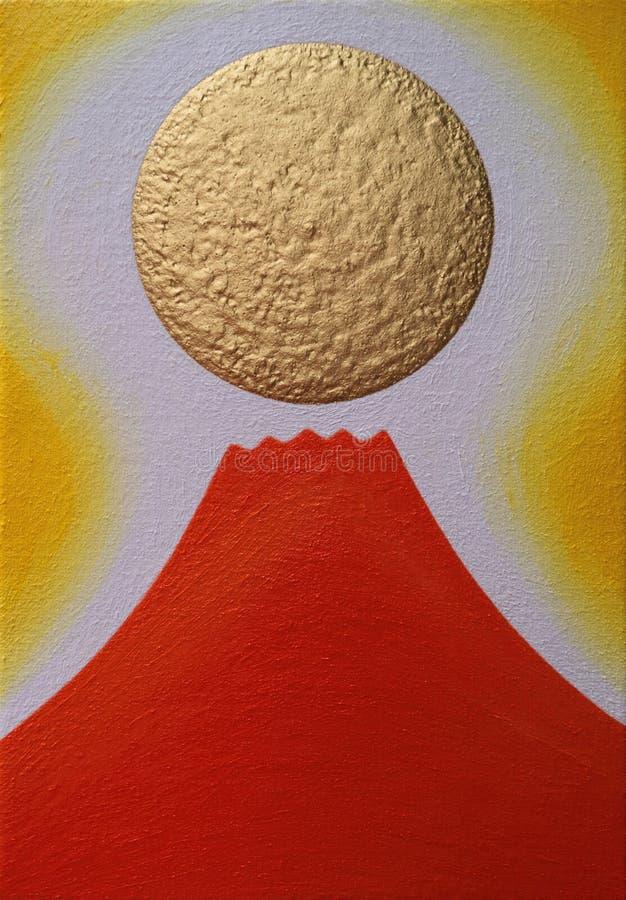 Κόκκινη ΑΜ Φούτζι και χρυσός ήλιος της ανατολής στοκ εικόνα με δικαίωμα ελεύθερης χρήσης