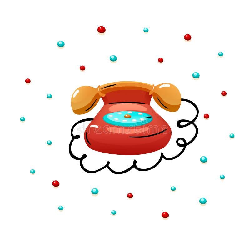 Κόκκινη αναδρομική τηλεφωνική διανυσματική απομονωμένη απεικόνιση τυπωμένη ύλη απεικόνιση αποθεμάτων