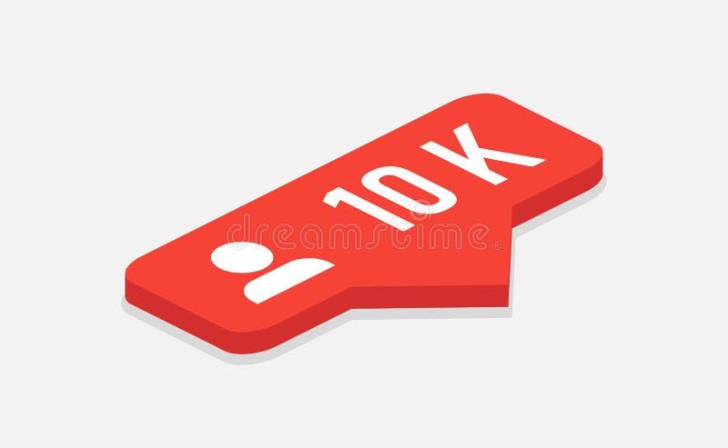 Κόκκινη ανακοίνωση οπαδών εικονιδίων 10k Isometric εικονίδιο Insta οπαδών συνομιλίες έννοιας επικοινωνίας δεσμών που έχουν τους α ελεύθερη απεικόνιση δικαιώματος