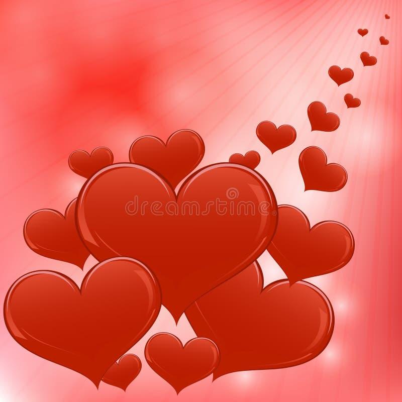 Κόκκινη ανασκόπηση καρδιών Στοκ Εικόνα
