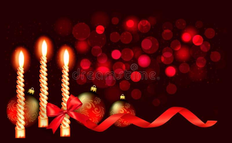 Κόκκινη ανασκόπηση Χριστουγέννων με το κερί και κόκκινο ribbo διανυσματική απεικόνιση