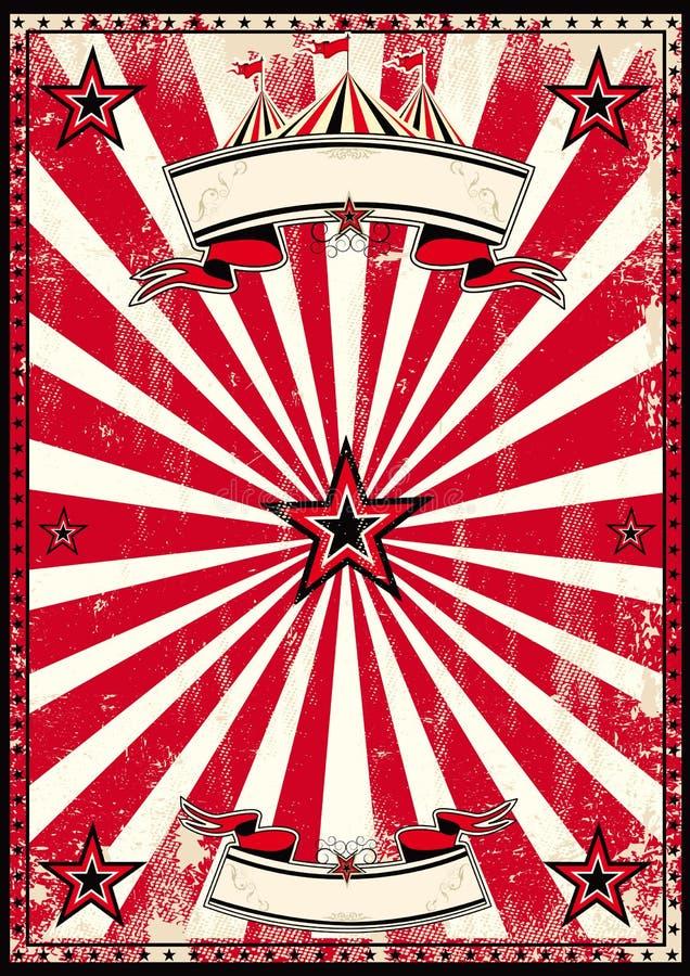 Κόκκινη αναδρομική αφίσα τσίρκων στοκ εικόνες με δικαίωμα ελεύθερης χρήσης
