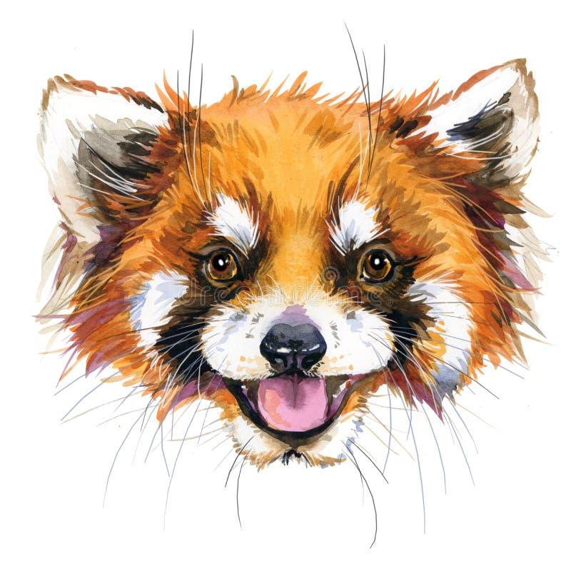 Κόκκινη απεικόνιση panda Watercolor σχέδιο πουκάμισων γραμμάτων Τ μόδας απεικόνιση αποθεμάτων