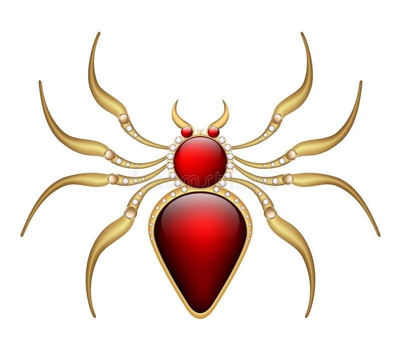 Κόκκινη αράχνη φυλακτών πορπών κοσμήματος στο χρυσό με τους πολύτιμους λίθους διανυσματική απεικόνιση