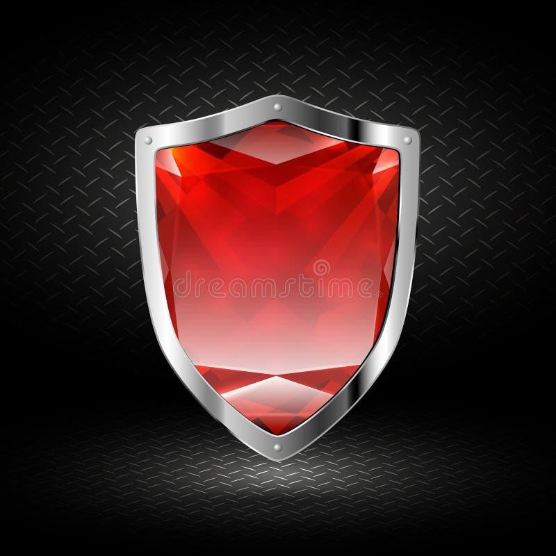Κόκκινη ασπίδα κρυστάλλου στο χρώμιο στοκ φωτογραφία με δικαίωμα ελεύθερης χρήσης