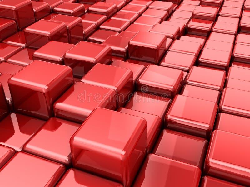 Κόκκινη αφηρημένη ανασκόπηση κύβων διανυσματική απεικόνιση