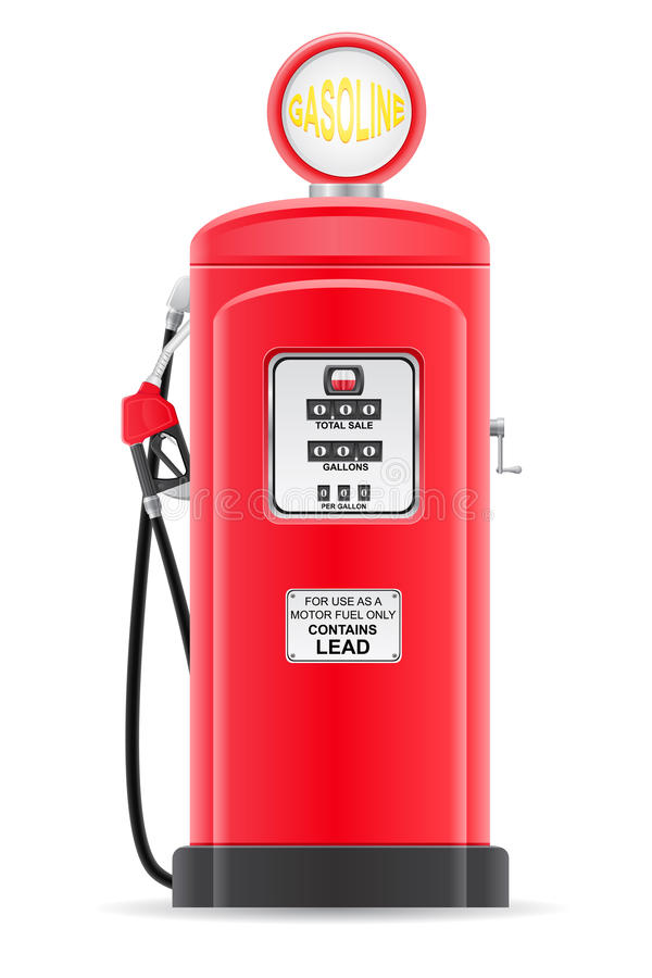 Κόκκινη βενζίνη που γεμίζει την παλαιά αναδρομική διανυσματική απεικόνιση διανυσματική απεικόνιση