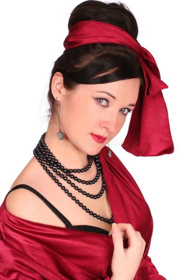 κόκκινη γυναίκα ενδυμάτω&nu στοκ φωτογραφία με δικαίωμα ελεύθερης χρήσης