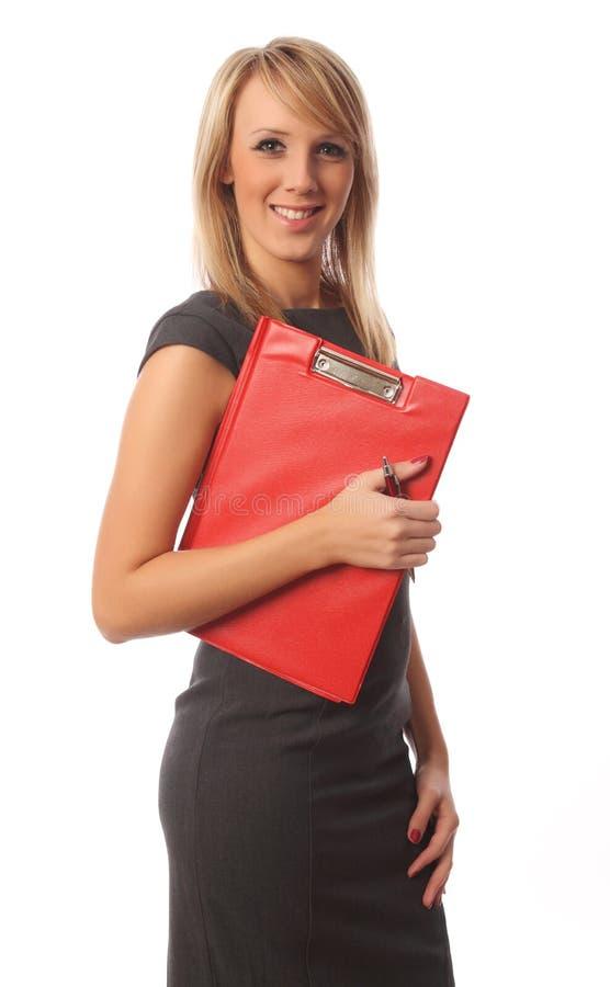 κόκκινη γυναίκα επιχειρη στοκ φωτογραφία