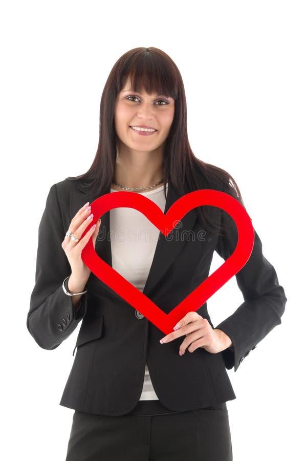 κόκκινη γυναίκα καρδιών στοκ εικόνες