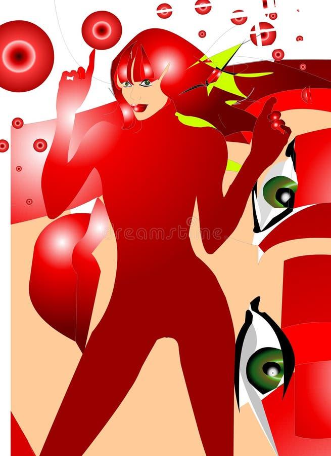 κόκκινη γυναίκα λευκώμα&tau διανυσματική απεικόνιση