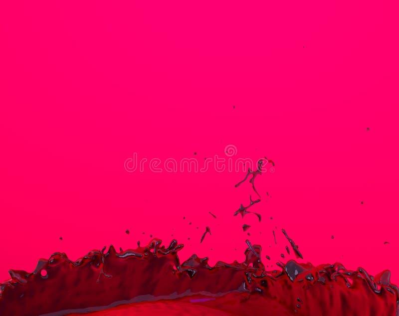 Κόκκινη διάτρηση χυμού που καταβρέχει τη fruity πορφυρή υγρή τρισδιάστατη απεικόνιση παφλασμών απεικόνιση αποθεμάτων