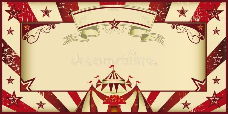 Κόκκινη εκλεκτής ποιότητας πρόσκληση τσίρκων διανυσματική απεικόνιση