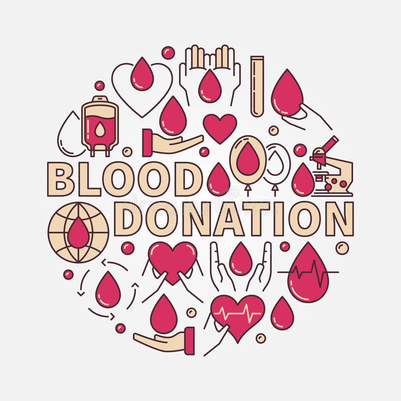 Κόκκινη επίπεδη απεικόνιση δωρεάς αίματος απεικόνιση αποθεμάτων