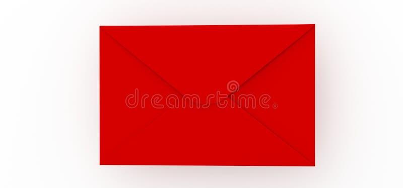 Κόκκινη επιστολή ταχυδρομείου στο άσπρο υπόβαθρο διανυσματική απεικόνιση