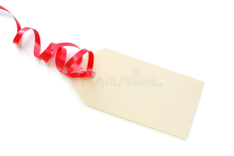 κόκκινη ετικέττα κορδελ& στοκ φωτογραφία
