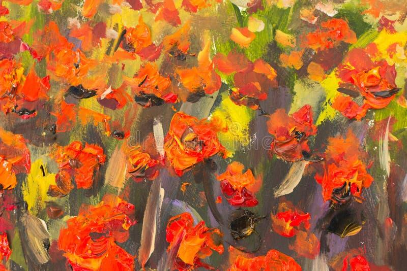 Κόκκινη ζωγραφική λουλουδιών παπαρουνών Μακρο στενό επάνω τεμάχιο διανυσματική απεικόνιση