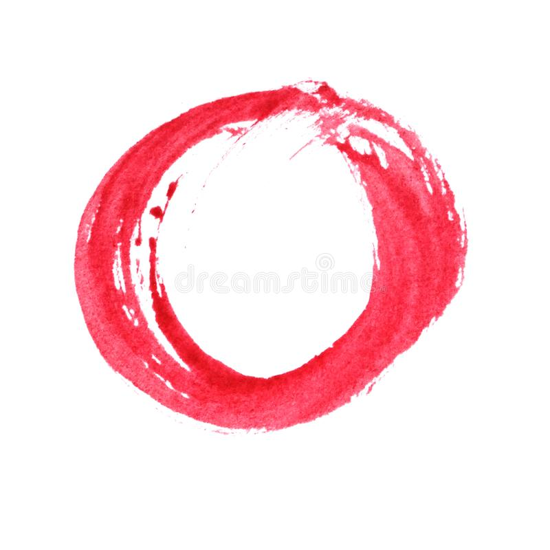 Κόκκινη ζωγραφική watercolor κύκλων, χρωματισμένα χέρι κτυπήματα βουρτσών στοκ εικόνες με δικαίωμα ελεύθερης χρήσης
