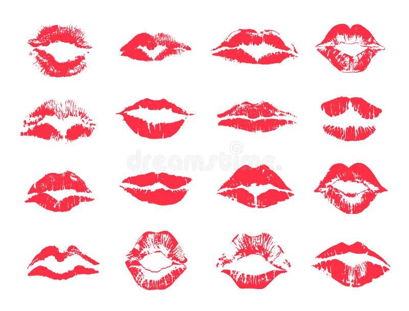 Κόκκινη θηλυκή χειλική τυπωμένη ύλη, σύνολο σημαδιών κραγιόν διανυσματική απεικόνιση