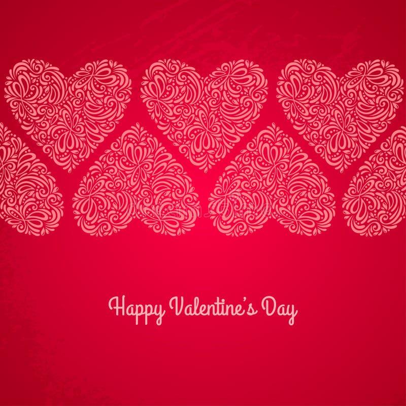 Κόκκινη κάρτα ημέρας βαλεντίνων με τις καρδιές σε κατασκευασμένο διανυσματική απεικόνιση