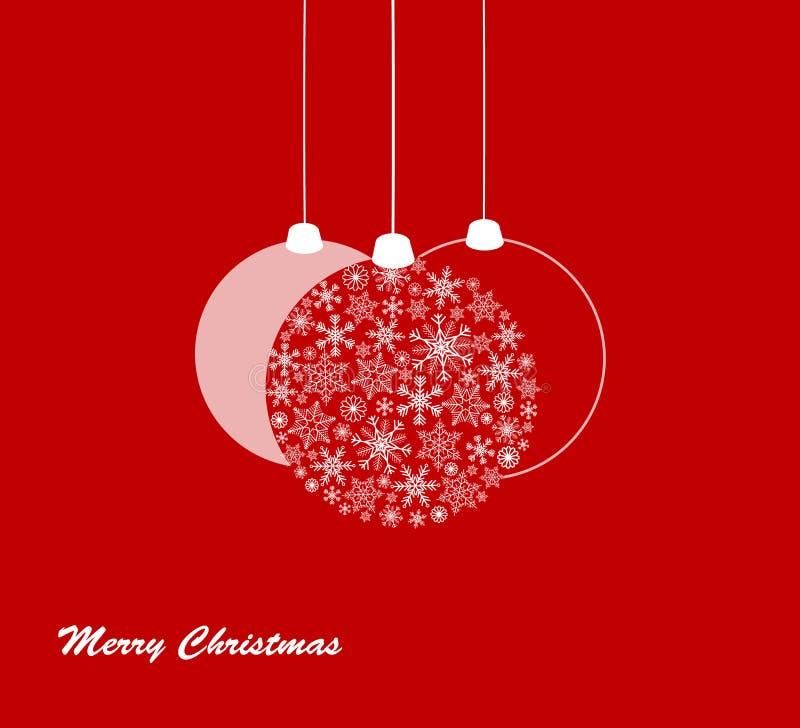 Κόκκινη κάρτα Χαρούμενα Χριστούγεννας με snowflakes απεικόνιση αποθεμάτων