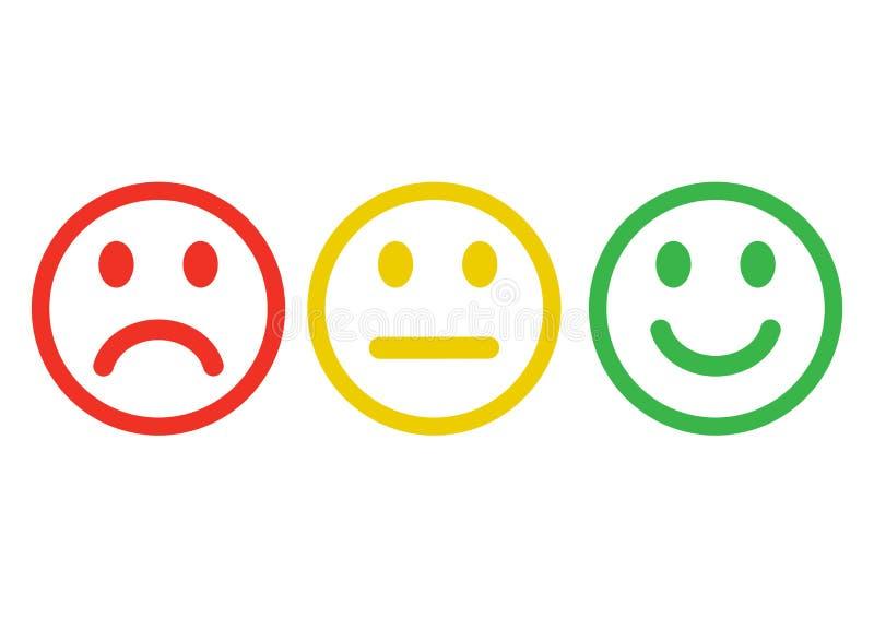 Κόκκινη, κίτρινη, πράσινη αρνητική, ουδέτερη και θετική, διαφορετική διάθεση εικονιδίων smileys emoticons Σχέδιο περιλήψεων r απεικόνιση αποθεμάτων