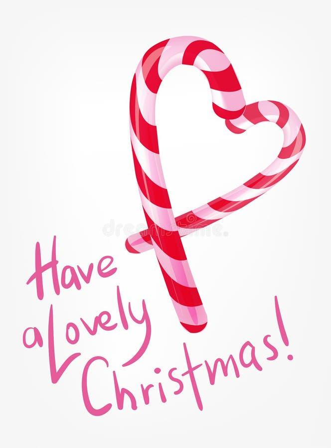 Κόκκινη και άσπρη διανυσματική καρδιά απεικόνισης υποβάθρου καραμελών Χριστουγέννων ελεύθερη απεικόνιση δικαιώματος