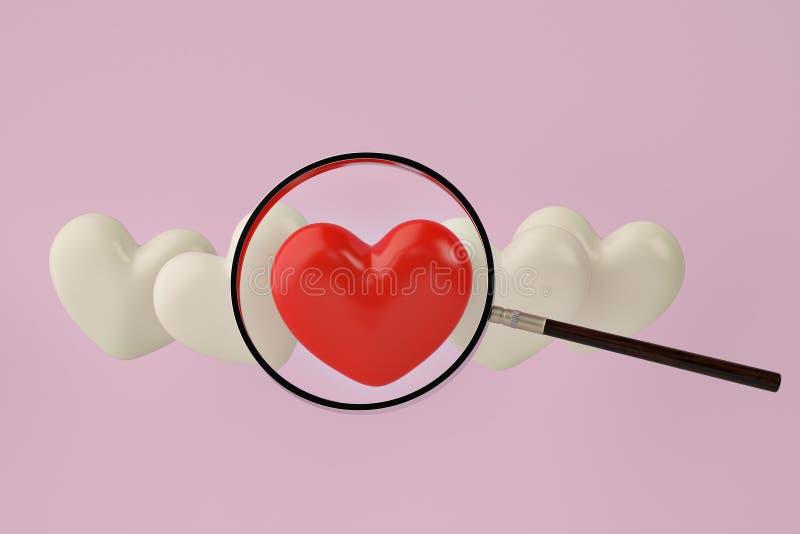 Κόκκινη και άσπρη καρδιά με πιό magnifier στο ρόδινο υπόβαθρο τρισδιάστατο illustr ελεύθερη απεικόνιση δικαιώματος