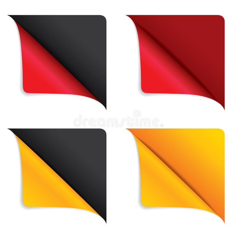 Κόκκινη και κίτρινη γωνία κορδελλών διανυσματική απεικόνιση