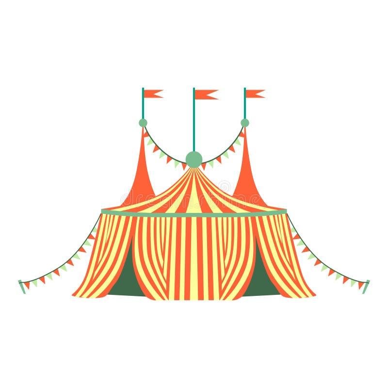Κόκκινη και κίτρινη ρηγέ σκηνή τσίρκων, μέρος του λούνα παρκ και δίκαιη σειρά επίπεδων απεικονίσεων κινούμενων σχεδίων απεικόνιση αποθεμάτων