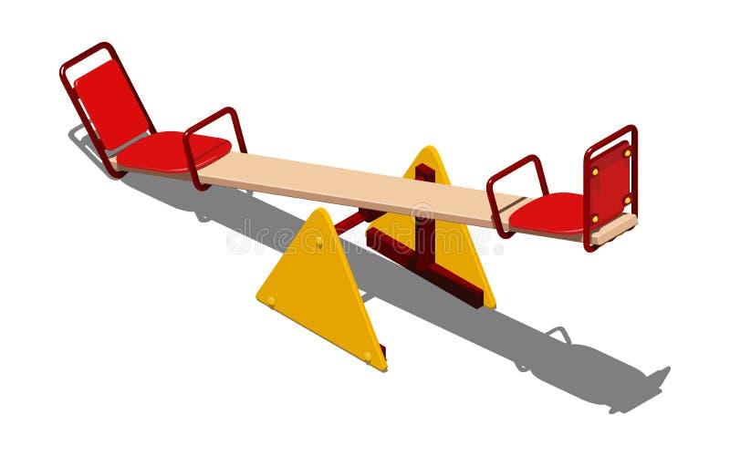 Κόκκινη και κίτρινη ταλάντευση - balancer για τα παιδιά, για να κάνει πατινάζ μαζί, isometric διανυσματική απεικόνιση στο άσπρο υ διανυσματική απεικόνιση